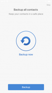 Easy Backup save contacts: Hit backup now to save your iPhone contacts